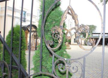 Ограждение, украшенное гербом. Отель Александровский